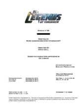 DC's Legends of Tomorrow script title page - Star City 2046