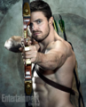 Oliver Queen aiming an arrow on a target background.png