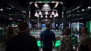 Oliver reveals the new Arrowcave to the team
