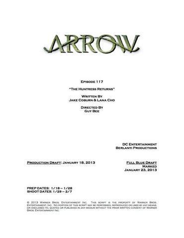 Archivo:Arrow script title page - The Huntress Returns.png