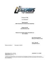 DC's Legends of Tomorrow script title page - Left Behind