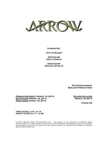 Archivo:Arrow script title page - City of Blood.png