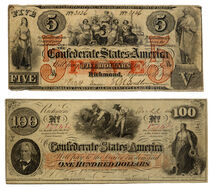 Confederate 5 and 100 Dollars