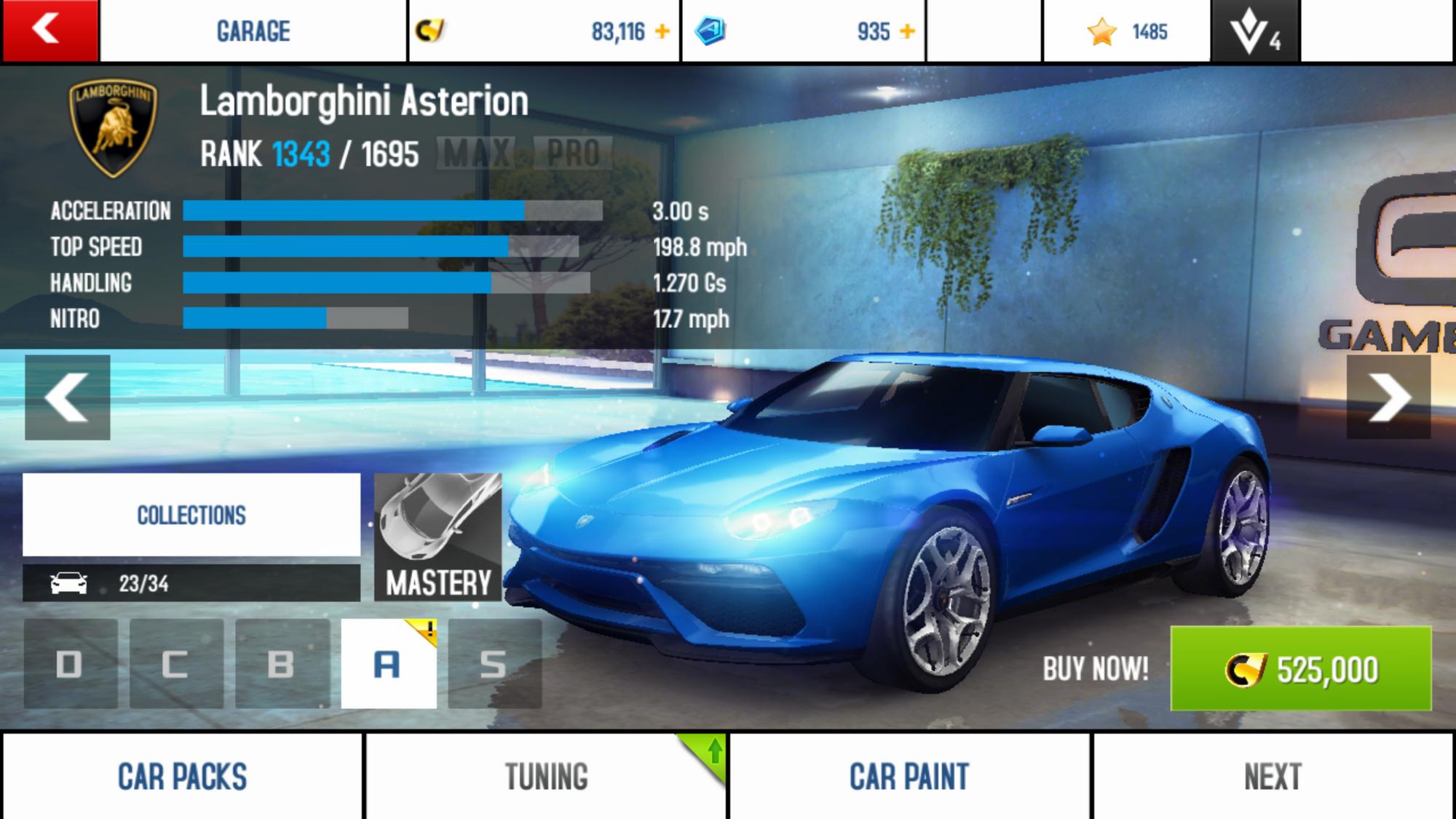 Lamborghini Asterion\Performance Stats
