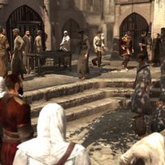 Tamir en de koopman komen de Souk binnen.