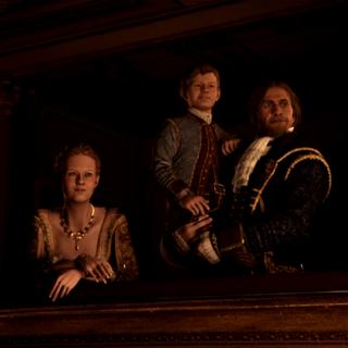 海瑟姆与父亲爱德华、姐姐珍妮弗观看歌剧