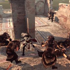 Ezio vecht met de volgelingen van Romulus