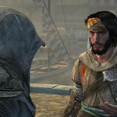 Yusuf informeert Ezio over de schuilplaats