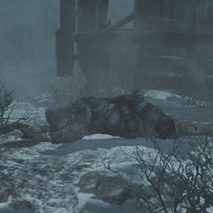 Ezio ligt op de grond