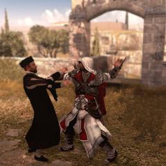 Ezio vermoordt de weldoener.