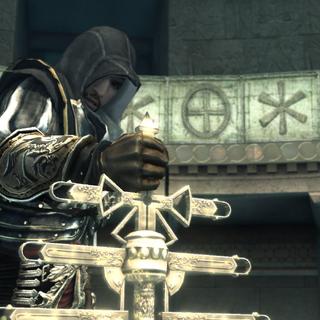Ezio probeert de pauselijke staf te pakken