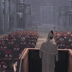 De kardinalen tijdens de mis.