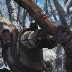 Connor zielt mit seinem Bogen