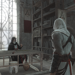 Altaïr praat met Al Mualim.