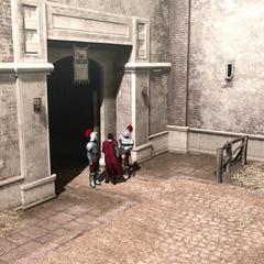 Cesare Borgia komt aan om Rodrigo te ontmoeten.