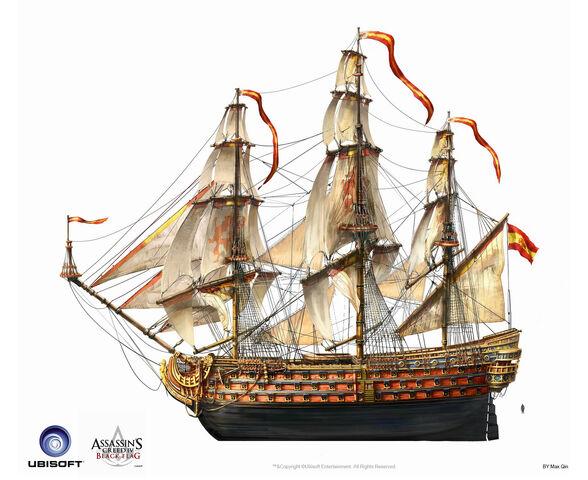 File:Assassin's Creed IV Black Flag -Ship- SpanishMilitaryNavalShips ManOfWar by max qin.jpg