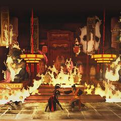 邵君在一座着火的建筑中打斗