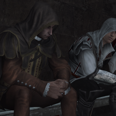 Ezio praat met La Volpe over de Tempeliers.