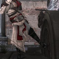 Ezio gaat de schuilplaats binnen