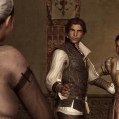 Ezio vraagt aan Annetta of zij voor zijn moeder en zus wil zorgen.