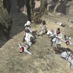 Altaïr beschermt de burgers.