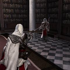 Ezio schiet op een wachter met zijn <a href=
