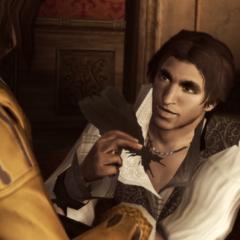 Ezio geeft Petruccio de veren.