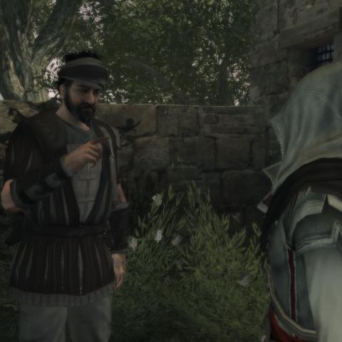 Ezio in gesprek met een huurling.