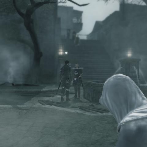 Altaïr luistert de hospitaalridders af.