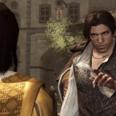 Ezio vertelt dat hij de veren zal halen.