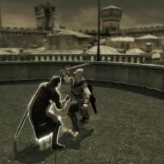 Ezio in gevecht met Mario.