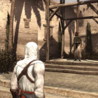 Altaïr luistert de heraut af.