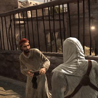 Altaïr overhoort de heraut.