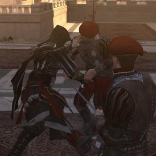 Ezio vecht met de wachters buiten de kapel