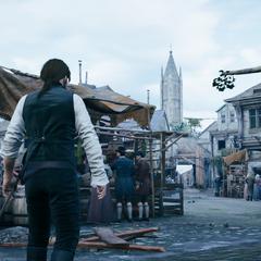 Arno ziet de toren van de kerk