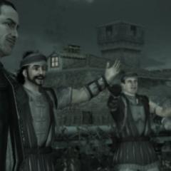 马里奥和他手下的雇佣兵向Ezio表示祝贺。