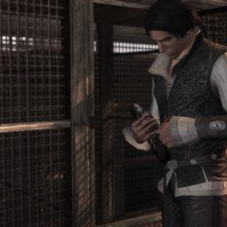 Ezio bij de duiventil.