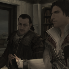 Ezio geeft Mario de Codexpagina's van zijn <a href=