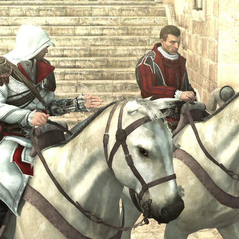 Ezio en Machiavelli rijden door Rome