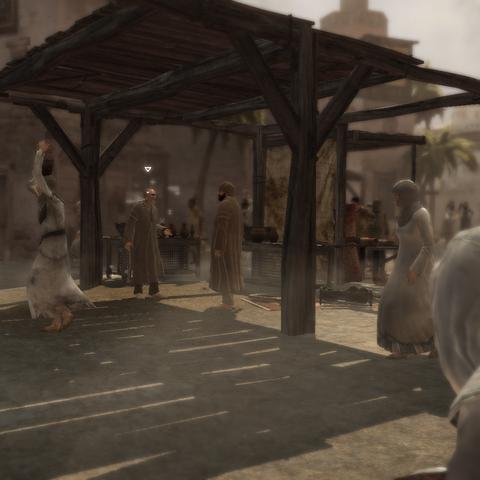 Altaïr luistert het gesprek af.