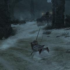 Ezio probeert op de wagen te komen