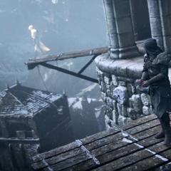 Ezio wordt naar de plank gebracht, terwijl hij weer een visioen ziet