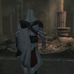 Ezio gaat de fonteinzaal binnen