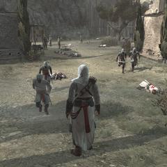 De burgers worden veilig naar het kasteel gebracht.