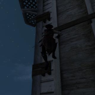 Aveline beklimt de klokkentoren