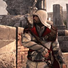 Ezio maakt zich klaar voor het gevecht