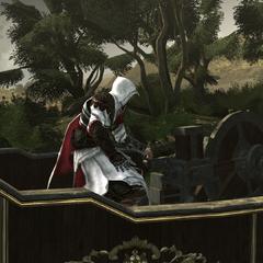 Ezio maakt het machinegeweer klaar.