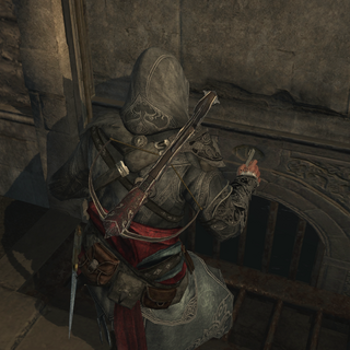 Ezio unlocking a secret entrance with the Hookblade