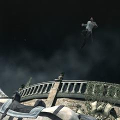 Ezio springt op een paard om de wal te bereiken