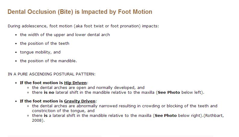 Dentition impacted by foot motion